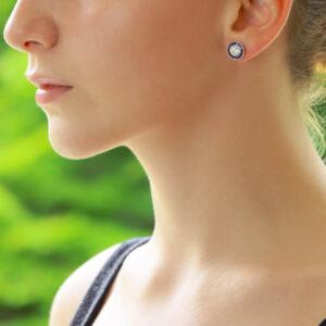 Art Deco Inspired Sapphire and Diamond Target Stud Earrings