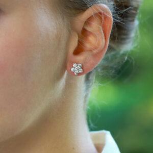 Vintage Bvlgari Floral Cluster Stud Earrings
