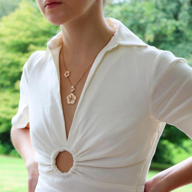Vintage Boodles Large Blossom Diamond Pendant Necklace