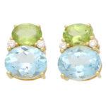 Vintage Kiki McDonough Topaz, Peridot and Diamond Stud Earrings