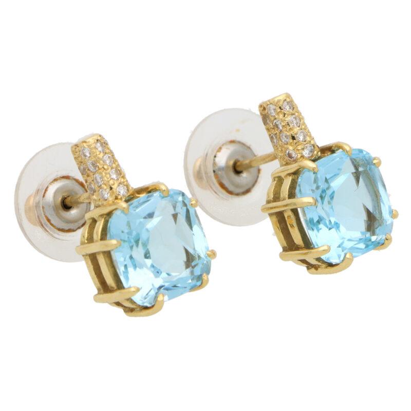 Vintage Kiki McDonough Blue Topaz and Diamond Stud Earrings