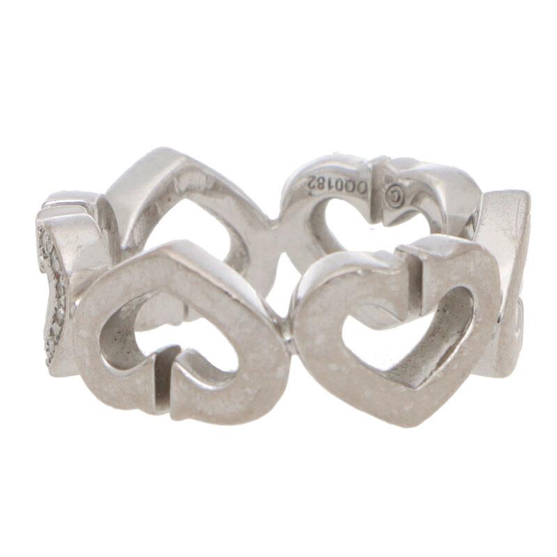 Vintage Cartier 'C de Cartier' Diamond Heart Ring