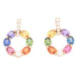 Contemporary Rainbow Sapphire and Diamond Earrings