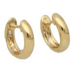 Diamond Set Huggie Hoop Earrings