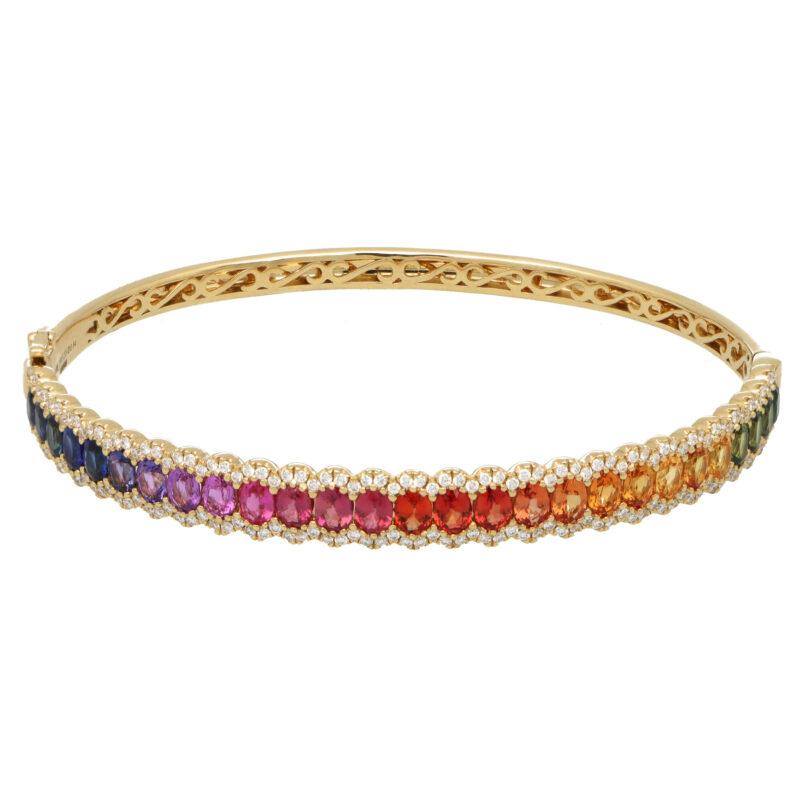 Contemporary Rainbow Sapphire and Diamond Hinged Bangle