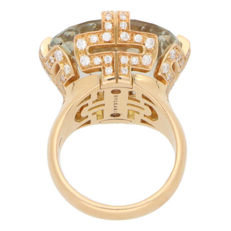 Vintage Bvlgari Parentesi Green Quartz and Diamond Ring