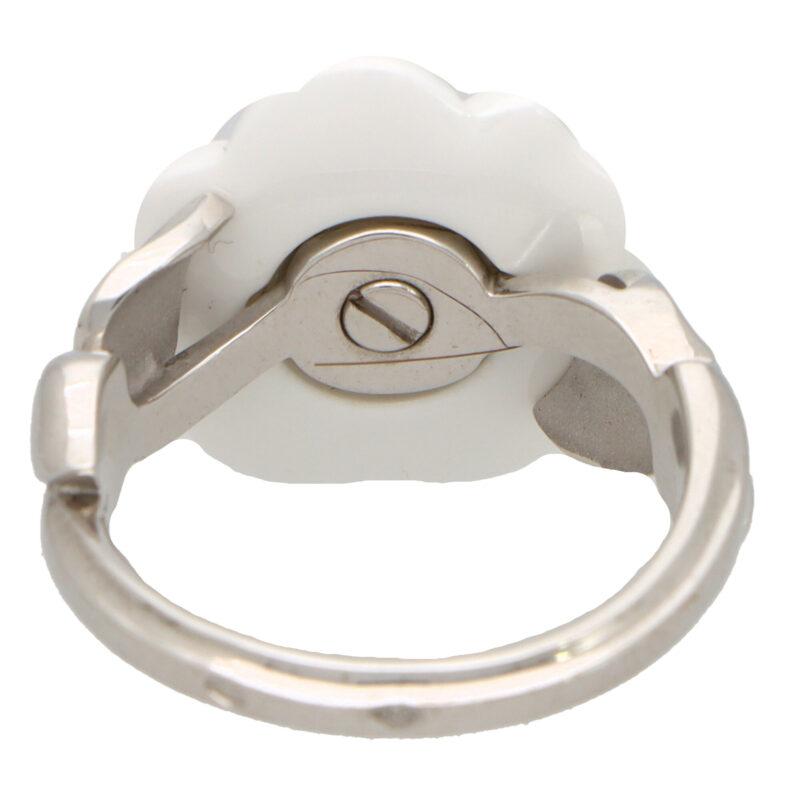 Vintage Chanel Camélia Galbé Ceramic and Diamond Flower Ring