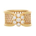 Vintage Van Cleef & Arpels Fleurette Diamond Cluster Band Ring
