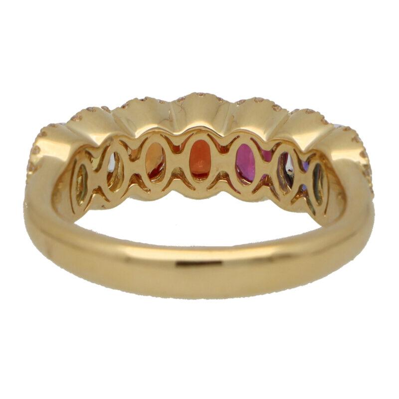 Contemporary Rainbow Sapphire and Diamond Half Eternity Ring
