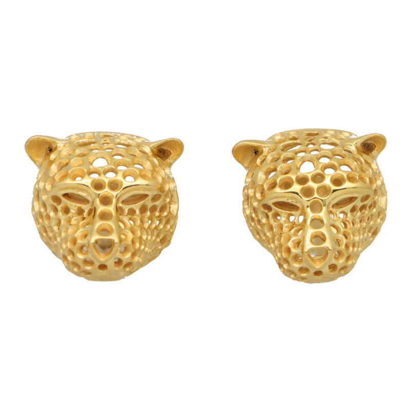 Vintage Panther Head Swivel Cufflinks in Platinum and Gold