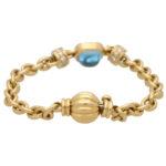 Vintage Blue Topaz and Diamond Hevay Link Bracelet