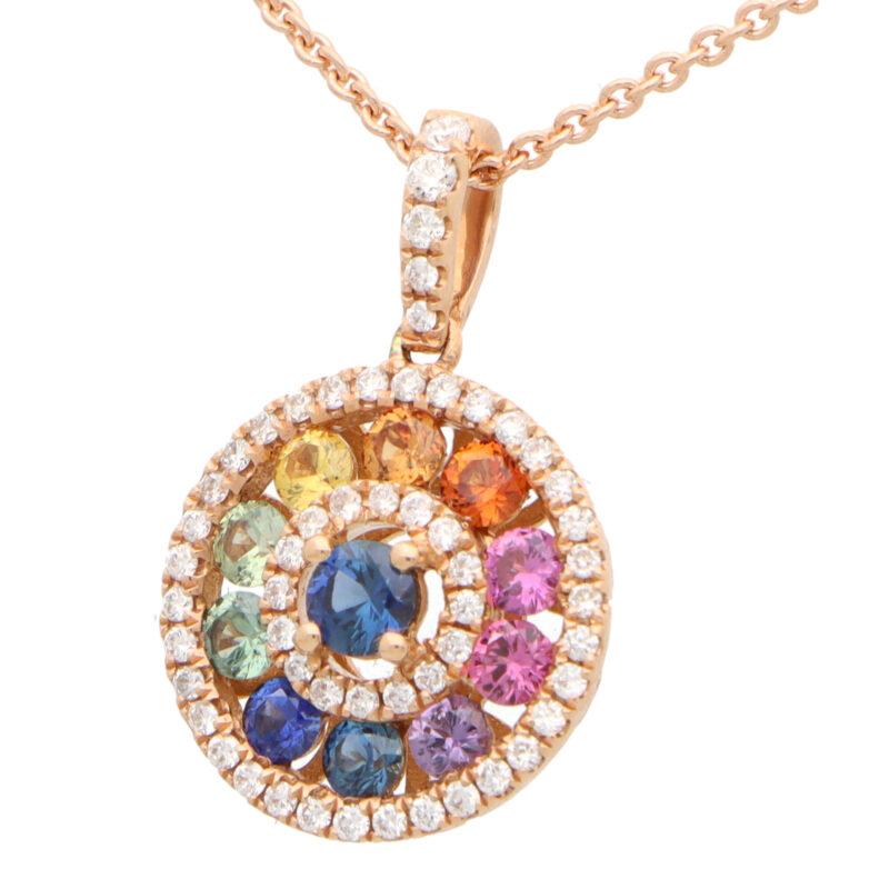 Rainbow Sapphire and Diamond Circle Pendant