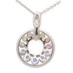 Graduating Rainbow Sapphire and Diamond Pendant
