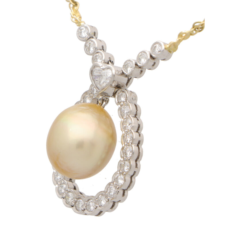 Golden Pearl and Diamond Pendant Necklace