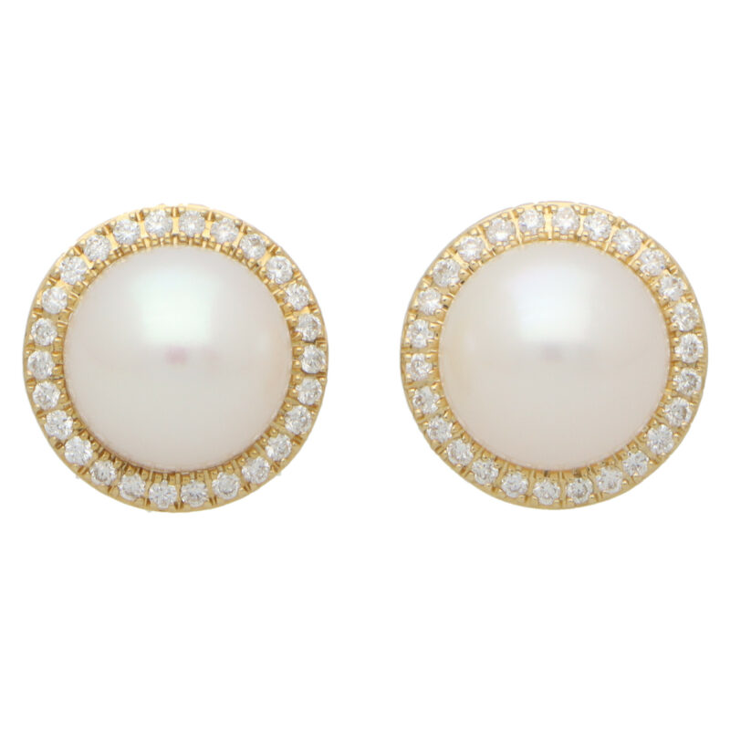 Contemporary Pearl and Diamond Halo Stud Earrings