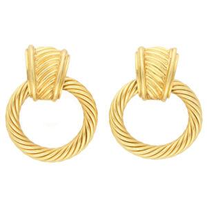 Vintage David Yurman Rope Work Door Knocker Earrings