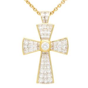 Vintage Theo Fennell Diamond Cross Pendant