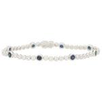 Contemporary Sapphire and Diamond Line Bracelet