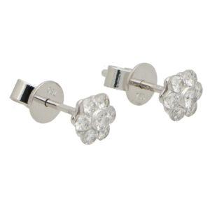 Floral Cluster Diamond Stud Earrings