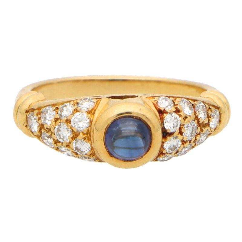 Vintage Chaumet Paris Sapphire and Diamond Ring