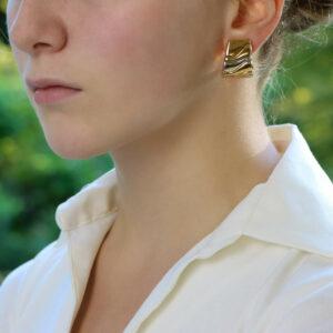 Vintage Marina B Puzzle Half Hoop Earrings