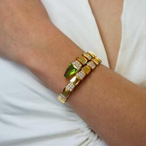 Vintage Bvlgari Peridot and Diamond Serpenti Bracelet