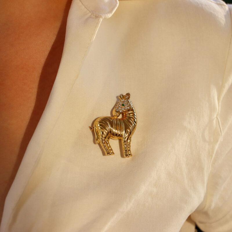 Vintage Tiffany & Co. Diamond Zebra Brooch