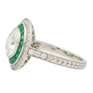 GIA Certified Double Emerald Target Ring