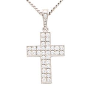 Vintage Cartier 'Cross Décor' Large Diamond Cross and Chain