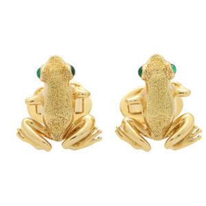 Vintage Tiffany & Co. Emerald Eye Frog Cufflinks