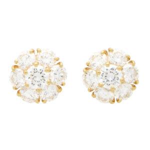 Vintage Van Cleef & Arpels Fleurette Diamond Cluster Earrings