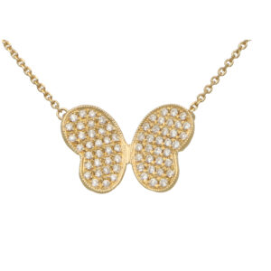Diamond Butterfly Pendant in Yellow Gold