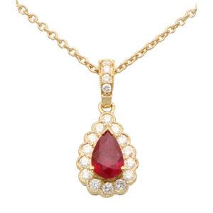 Ruby and Diamond Pear Shape Pendant