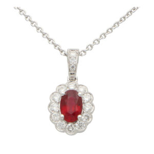 Ruby and Diamond Oval Pendant