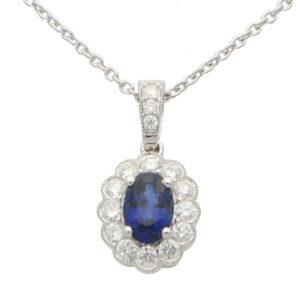 Sapphire and Diamond Oval Pendant