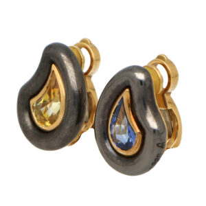 Vintage Poiray Blue and Yellow Sapphire Earrings
