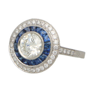 GIA Certified Art Deco Style Sapphire and Diamond Target Ring