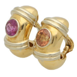 Vintage Poiray Pink and Orange Sapphire Earrings