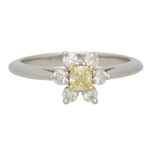 Vintage Tiffany & Co Fancy Intense Yellow Diamond Cluster Ring