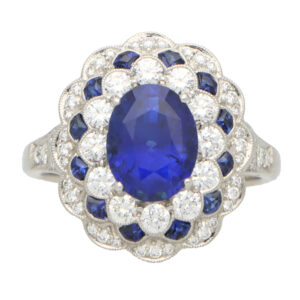 Royal Blue Sapphire and Diamond Floral Cluster Ring