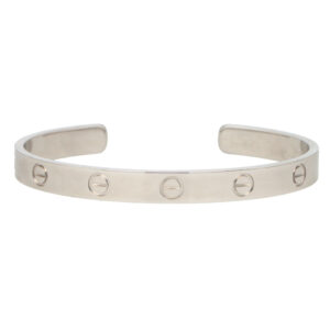 Vintage Cartier LOVE U Bangle in White Gold Size 17