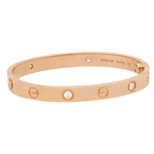 Vintage Cartier Four Diamond Love Bangle in Rose Gold, Size 16