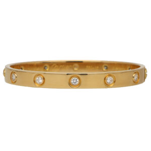 Vintage Cartier Full Diamond Love Bangle in Yellow Gold Size 16
