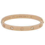 Vintage Cartier Four Diamond Love Bangle in Rose Gold size 16