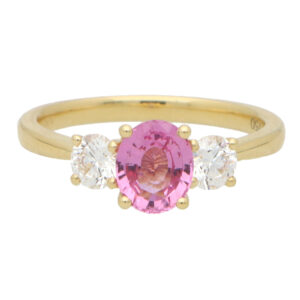 Pink Sapphire and Certified Diamond Trilogy Ring