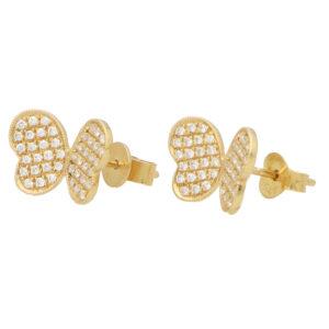 Diamond Butterfly Stud Earrings in Yellow Gold