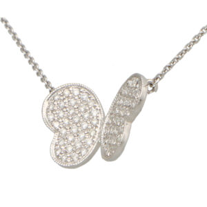Diamond Butterfly Pendant in White Gold