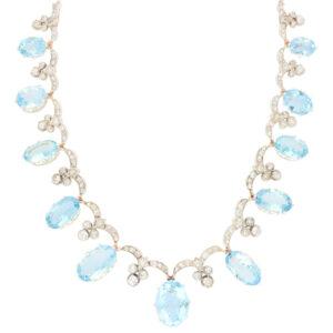 Art Deco Aquamarine and Diamond Convertible Tiara Necklace